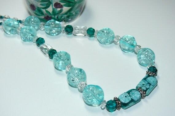 Millefiori Rectangle Blue/Green & Swarovski Bead Necklace
