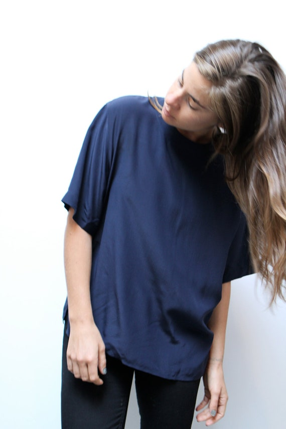 90s SILK capped sleeve blue blouse TOP