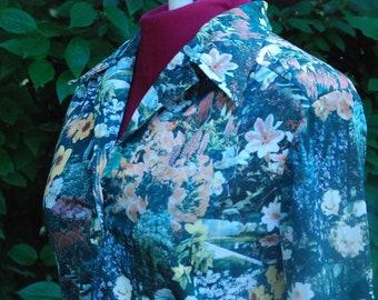 Vintage Women's Blouse Photo Print Floral Pattern - Sm Med
