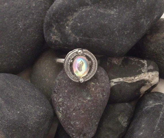 Vintage Adjustable Ring with Moonstone Cabochon