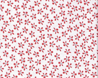 White Fabric Red Flowers Fabric Aqua Dots Fabric White Floral Fabric Cotton Quilting Fabric Yardage, Craft Supplies YacketUSA