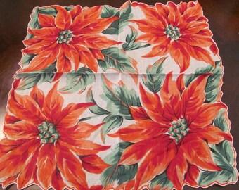 Beautiful Colorful Christmas Poinsettia Cotton Hankie
