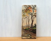 Paint by Number Art Block 'Fall Farm Scene' - autumn landscape, fall, vintage, trees