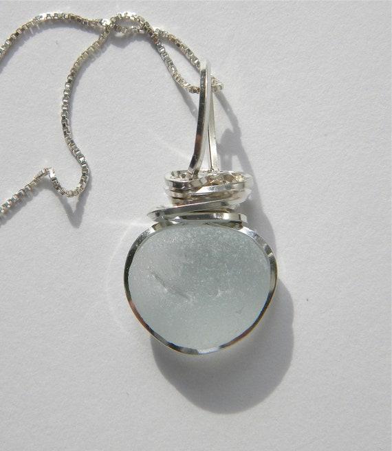 Sea Glass Necklace Wire Wrapped Seafoam in Argentium Silver 930