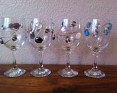 Wire Wrapped Wine Glasses-Small-Set of 4-Purple-Black-White-Pink-Blue