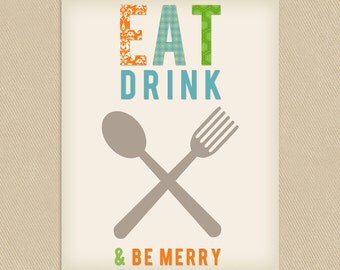 INSTANT DOWNLOAD - Kitchen Utensils Printable Wall Art 8x10 Eat Drink & Be Merry