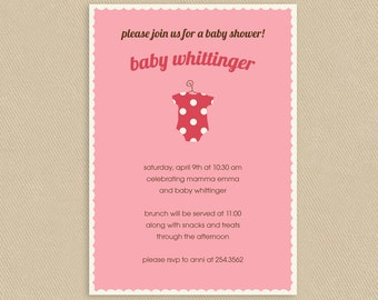 Printable Baby Shower Invitation 5x7 Tiny Pink Onsie