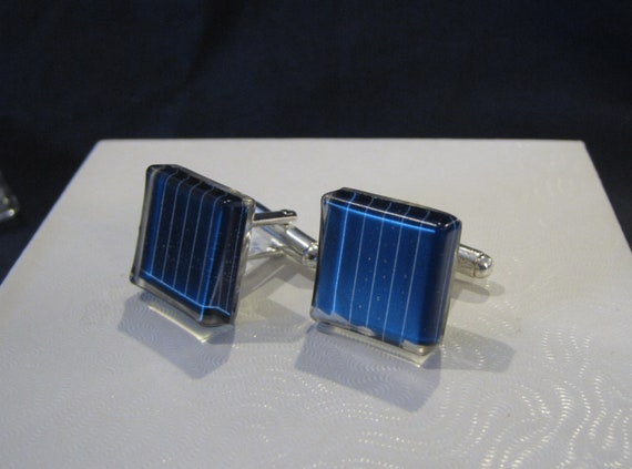 Solar Panel Silver Plated Cuff Links - Square