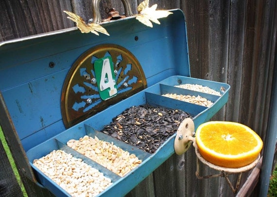 Repurposed Upcycled Recycled Tackle Fishing Box Suet Bird Feeder of Found Items