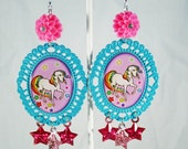 Rainbow Brite Starlite Pony Statement Earrings with Pink and Teal Accents
