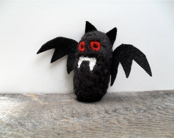 Cat toy catnip vampire bat, needle felted