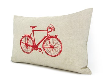 Decorative bicycle pillow case | Modern home decor | Beige cushion cover with red vintage bike print | Lumbar 12x18 inches / 30x45 cm size