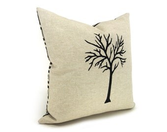 16x16 Tree Pillow Cover | Modern and Rustic Home Decor | Black and Natural Beige Pillow Cover with Geometric Pattern Back | Reversible