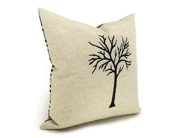 16x16 Tree Pillow Cover   Modern and Rustic Home Decor   Black and Natural Beige Pillow Cover with Geometric Pattern Back   Reversible