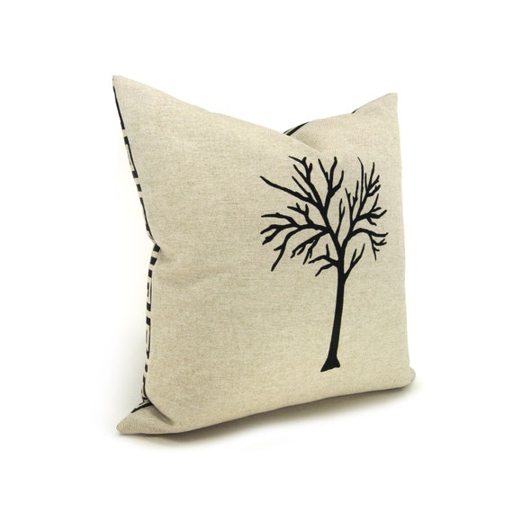 Modern Moose Pillows : Items similar to 16x16 Tree Pillow Cover Modern and Rustic Home Decor Black and Natural ...