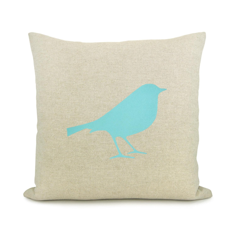 Bird pillow cover Aqua bird print on natural beige canvas