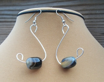 Black Swan Agate Earrings, Black Agate Earrings, Agate Earrings, Agate Dangles, Stone Dangles