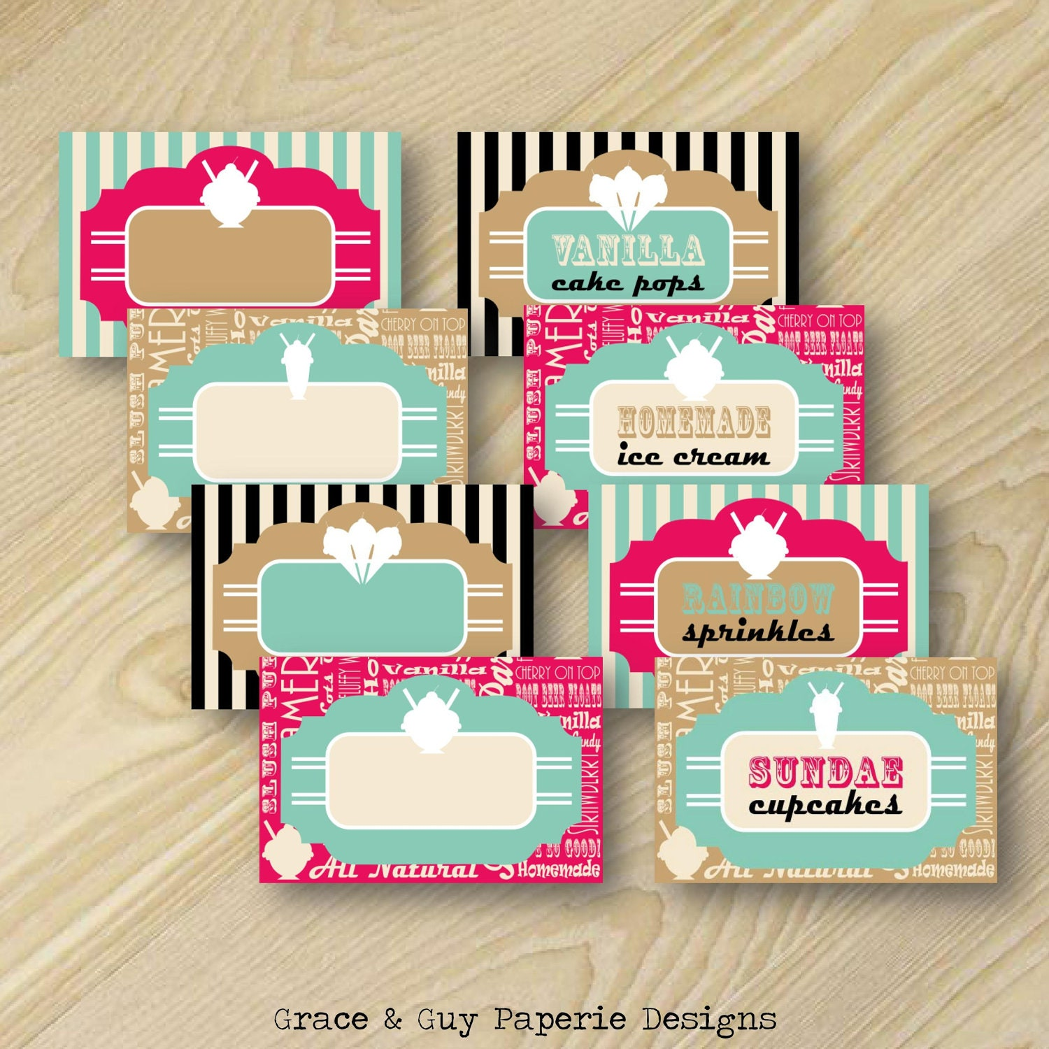 Ice Cream Party Food Labels By GraceandGuy On Etsy