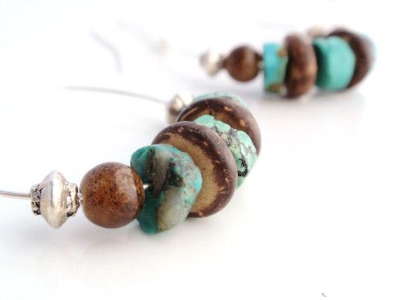 Turquoise Hoop Earrings Brown Wood Silver Southwestern Boho