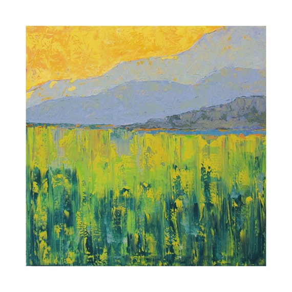 Oil cold wax landscape painting by kelly original square for Wax landscape