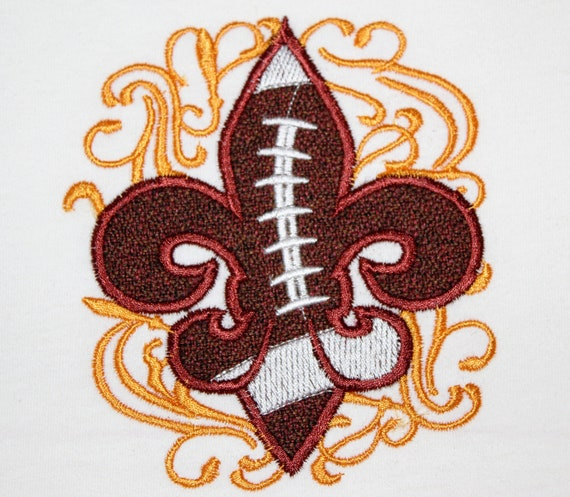 Football fleur de lis with curls grafiti on background - machine embroidery applique design - for hoop 4x4 and 5x7