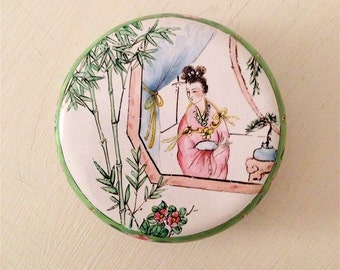 Antique Chinese Geisha Enamel Box