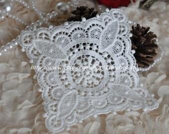 Lace Appliques Mini White Handkerchief Venice Cotton Appliques 1 pcs