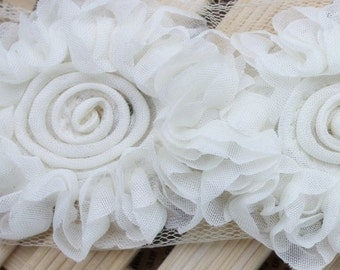 3D Shabby Rose Trim White Chiffon Flower Lace 2.36 Inches Wide1 Yard