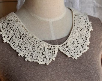 Venice Cotton Lace Collar Appliques Beige Floral Emborideried Collars 1 pair
