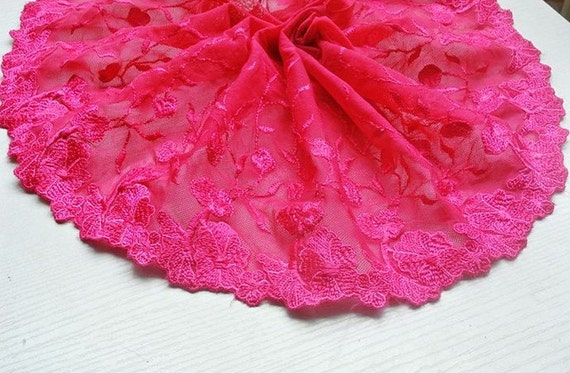 2 Yards Hot Pink Lace Trim Flower Embroideried Tulle Lace 7.67 Inches Wide