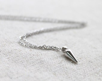 Tiny simple silver Spike Necklace  - S2295 -1