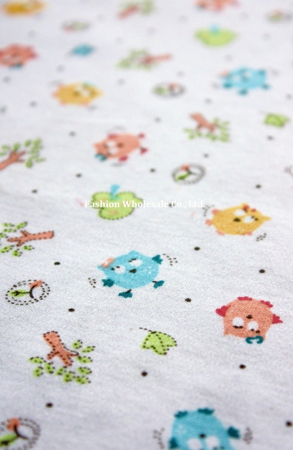 Kawaii Baby Knit Cotton Fabric - Baby Owls
