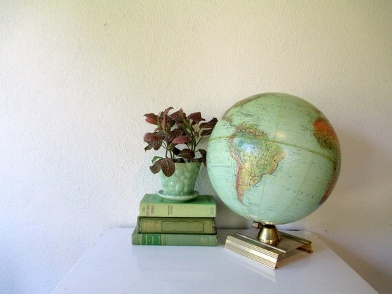 Vintage World Globe, 1960s Mid Century Globe with Gold Square Base, Better Homes and Gardens True to Life Globe Retro Home Decor