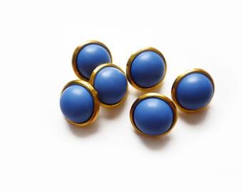 6 Blue &Gold Vintage Buttons