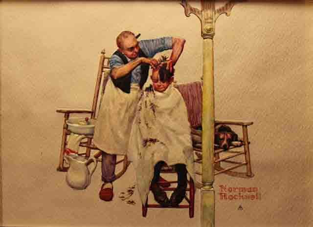 norman rockwell haircut norman rockwell barber giving boy a haircut 3783