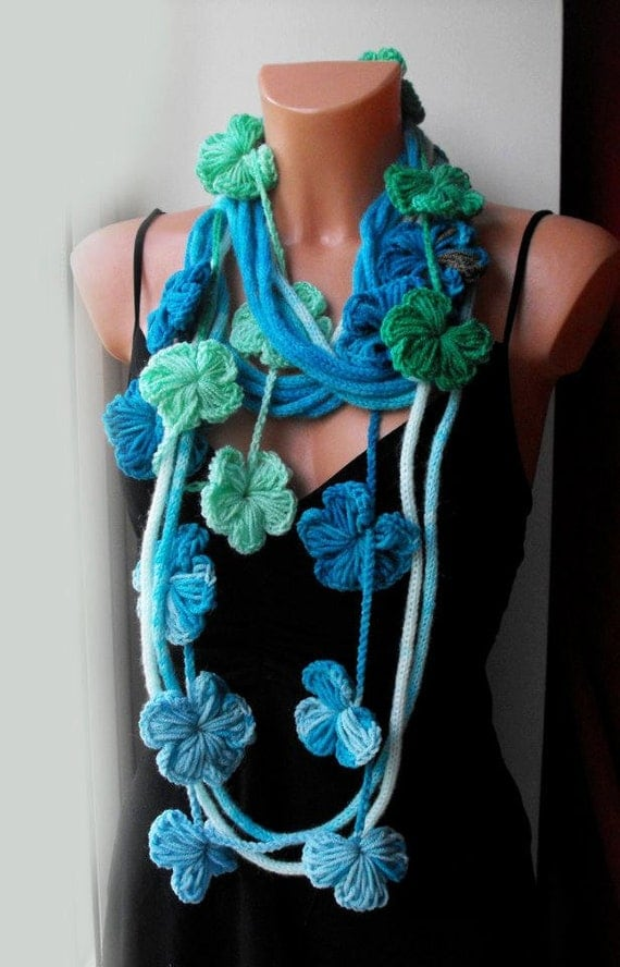 Knitted multicolor scarf necklace,infinity scarf, rope,loop scarf,scarflette,with crochet light green and turquoise flowers