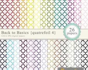 Quatrefoil digital paper 12x12, digital scrapbooking paper, royalty free commercial use -quatrefoil4- Instant Download