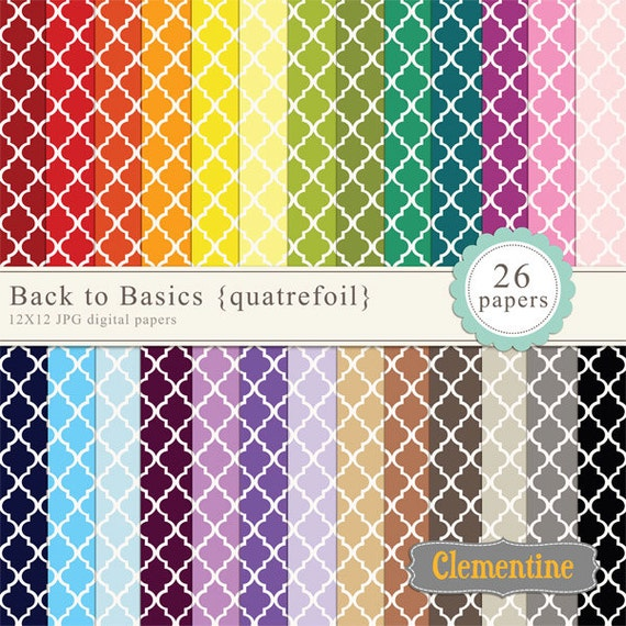Quatrefoil digital paper 12x12, digital scrapbooking paper, royalty free commercial use -quatrefoil- Instant Download