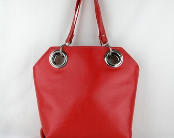 Vegan Purse in Cherry Red, Vinyl Purse, Red Shoulder Bag