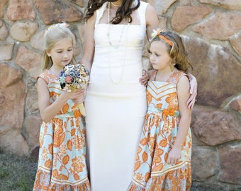 Aqua and Orange Flower Girl Dress