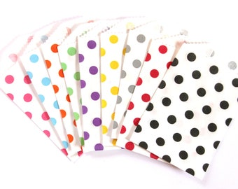 CLEARANCE SALE - 25 Small Polka Dot Treat Bags (Party / Wedding Favor Bags, Project Life, Gift / Business Card Envelopes) - 2.75 x 4 inches
