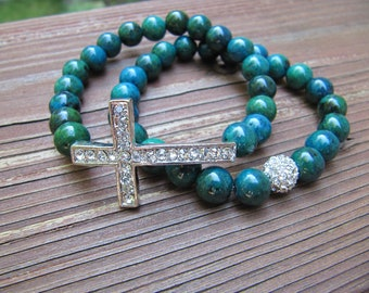 Yellow Turquoise Silver Pave Crystal Sideways Cross Bracelets - Set of 2