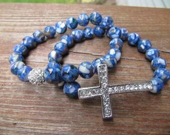 Mosaic Blue Silver Pave Crystal Sideways Cross Bracelets - Set of 2