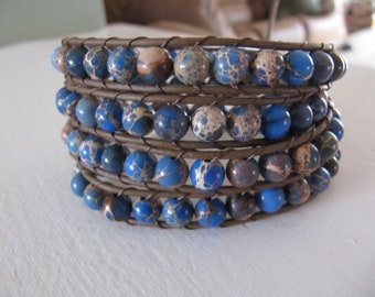 Impression Jasper Beaded Leather Wrap Bracelet with Blue and Brown - Leather Wrap Bracelet - Beaded Wrap Bracelet - Blue Wrap Bracelet