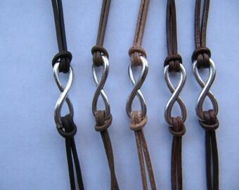 USA Seller - Brown Infinity Charm Leather Friendship Love Single Charm Wrap Bracelet
