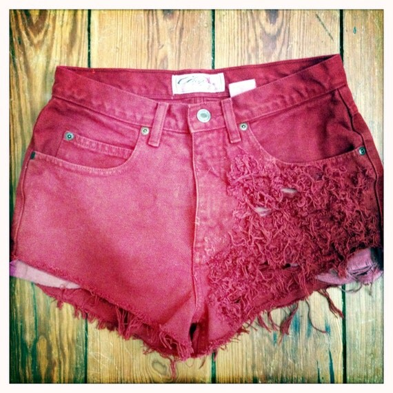 High Waisted Hipster Shorts: Cherry Red