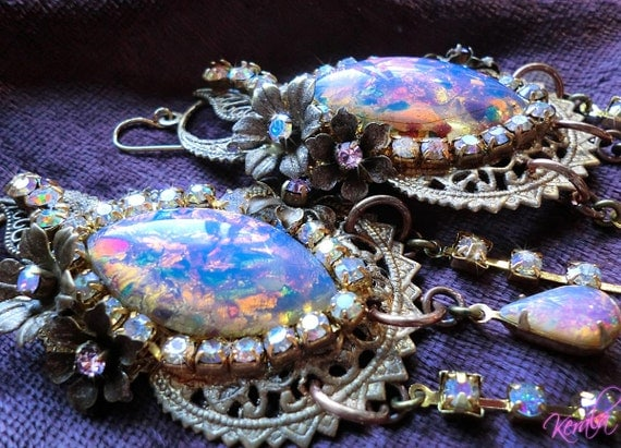 Large Fire Opal and Aurora Borealis Crystal Floral Fantasy Chandelier Earrings- Extravagant, Ornate, Fancy