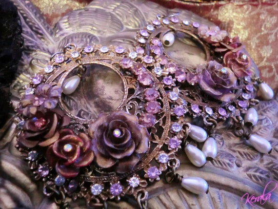 Gypsy Rose Chandelier Earrings- Sparkling Light Amethyst Crystal- Large, Ornate, Fancy