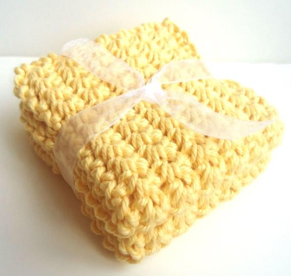 Crochet Washcloths Dishcloths - Set of 2 - For Kitchen, Bathroom, Baby - Yellow - 100% Cotton