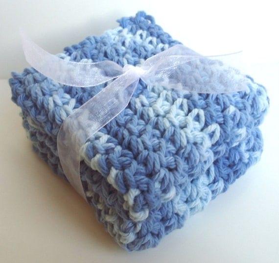 Crochet Washcloths Dishcloths - Set of 2 - For Kitchen, Bathroom, Baby - Blue, Light Blue - 100% Cotton